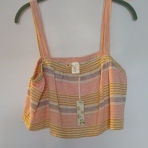 KAISELY linen/cotton NWT striped crop top, Large
